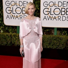 Cate Blanchett wearing a Givenchy blush-pink fringed gown at the 2016 Golden Globe Awards