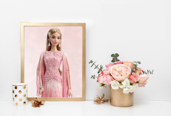 Blush Fringe Gown Barbie Doll