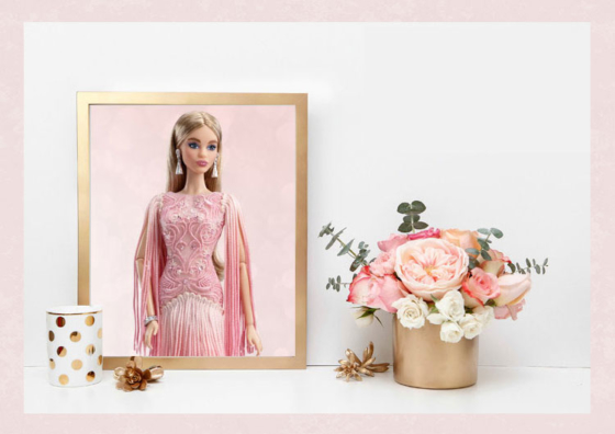 Blush Fringed Gown Barbie Dolll