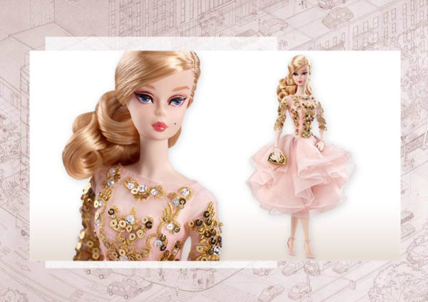 Blush & Gold Cocktail Dress Barbie Doll