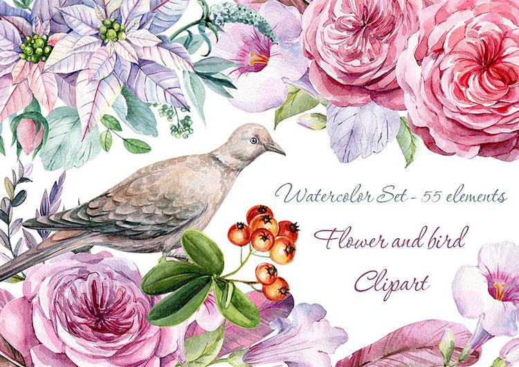 Bird Flower Watercolor Clipart