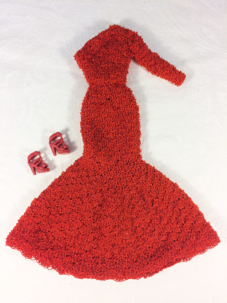 OOAK Vintage Beaded Red Barbie Dress