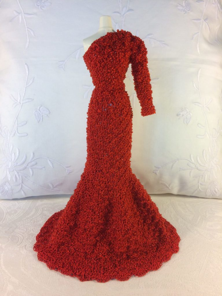 OOAK Beaded Red Barbie Dress