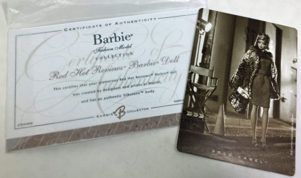 Red Hot Reviews Barbie Doll - Certificate of Authenticity and Collector Card